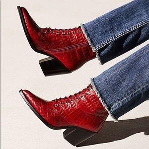 Jeffrey Campbell Desperado Boot Red Croc US9
